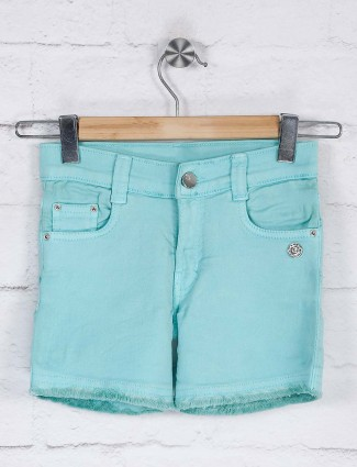 Green casual wear solid shorts
