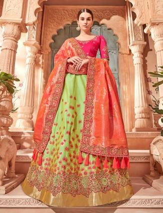 Green color banarasi silk fabric semi stitched lehenga choli