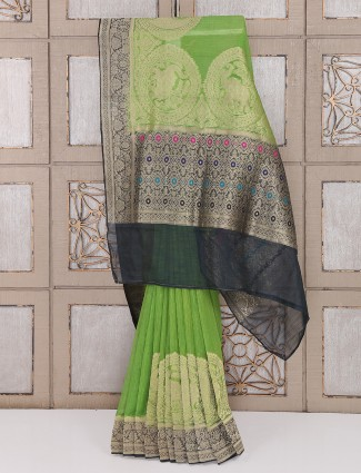Green color bhagalpuri silk fabric festive saree