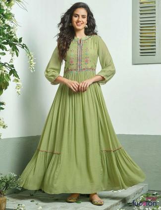 Green color cotton fabric long kurti