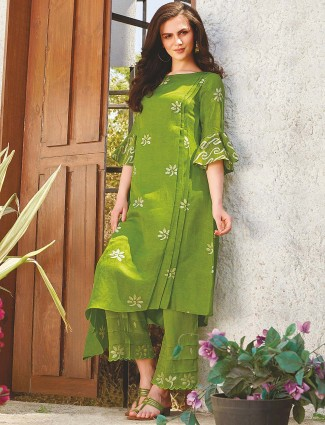 Green color cotton fabric punjabi kurti set