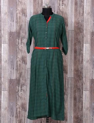 Green color prined kurti
