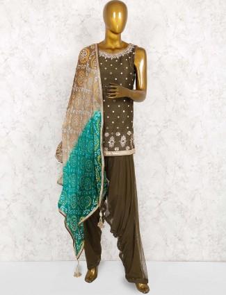 Olive green color raw silk fabric punjabi salwar suit