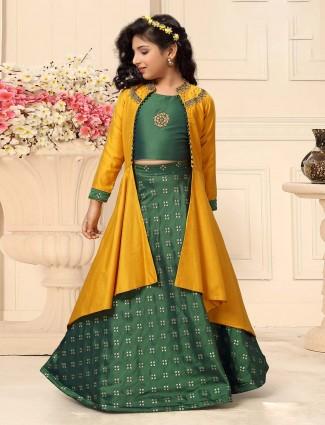 Green color silk fabric jecket style lehenga choli