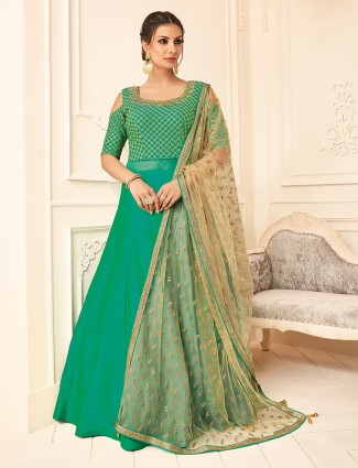 Green color silk wedding wear anarkali suit