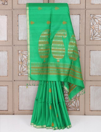 Green color south silk saree for festive function