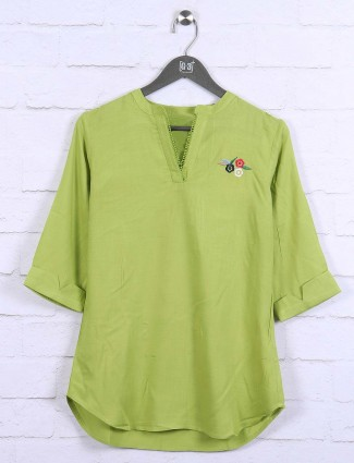Green color top for casual wear