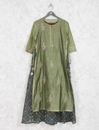 Green colored festive kurti