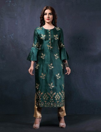 Green colored round neck cotton silk kurti
