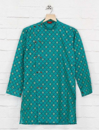 Green cotton side slit buttoned kurta suit