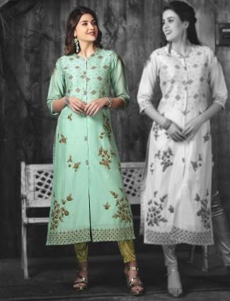 Green cotton silk fabric festive kurti