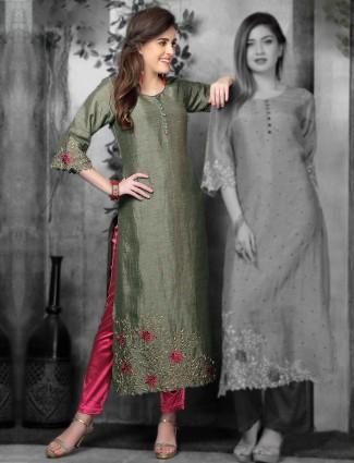 Green cotton silk festive wear kurti