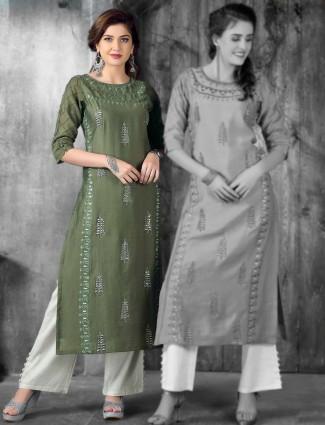 Green cotton silk kurti for festive occasion