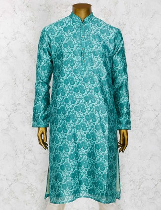 Green cotton silk party wear kurta suit