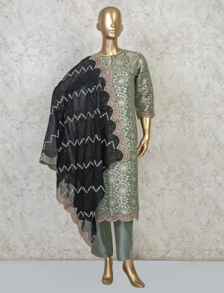 Green cotton silk punjabi palazzo set