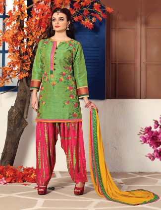 Green cotton silk simple salwar suit