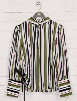 Green cotton stripe top for pretty womens