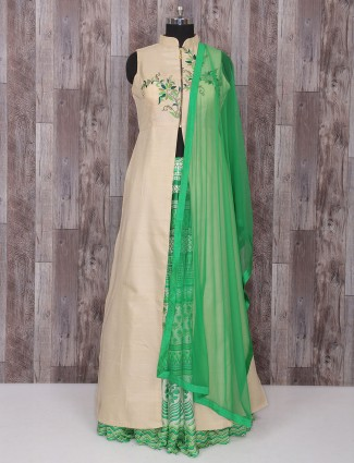Green cream wedding wear indo western