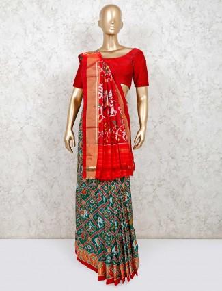 Green designer saree in hydrabadi patola silk