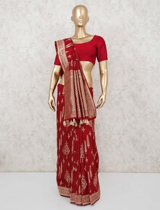 Green dola silk saree with zari motif