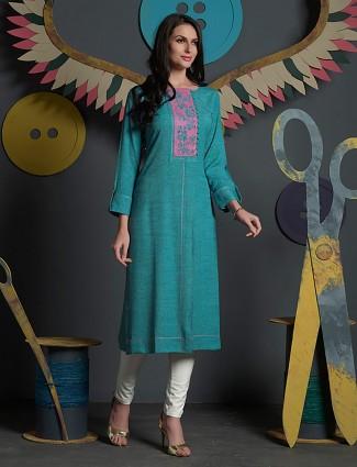 Green hue cotton kurti for casual wear