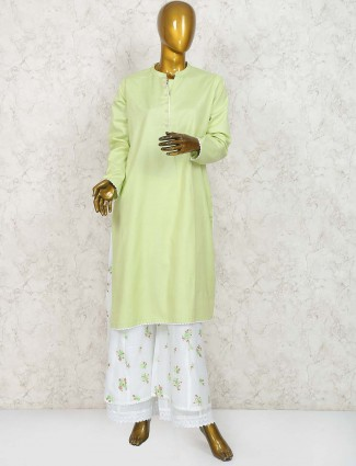 Green hue cotton punjabi palazzo suit