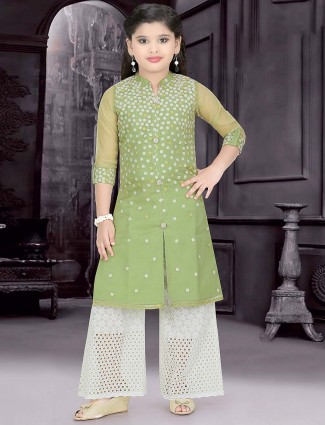 Green hue cotton silk fabric punjabi palazzo suit