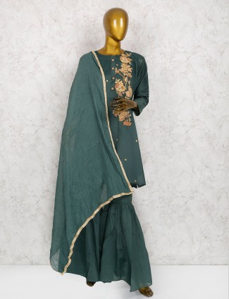 Green hue cotton silk sharara suit