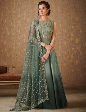 Green hue floor length anarkali suit for festive