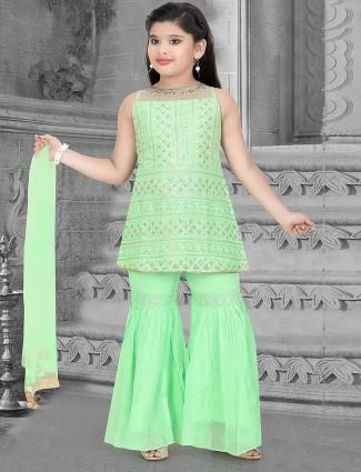 Green hue gorgeous cotton silk festive punjabi sharara suit