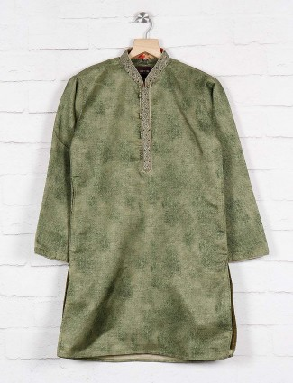 Green hue party wear cotton kurta suit
