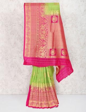 Green hue semi silk sari