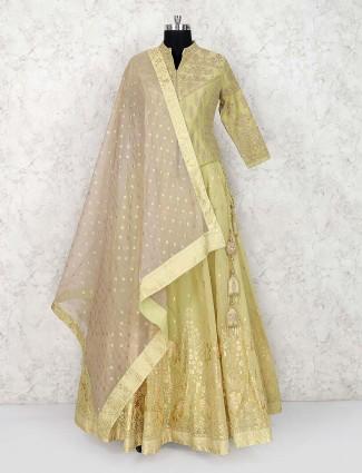 Green hue silk wedding occasion lehenga choli