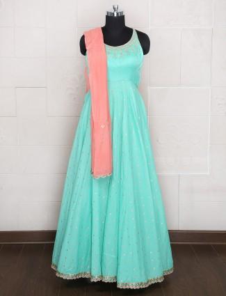 Aqua hue silk wedding wear anrakali suit