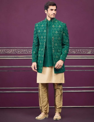 Green jacket style cotton silk designer semi indo western