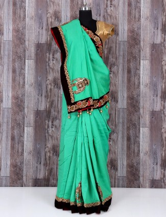 Green lovely silk sober saree