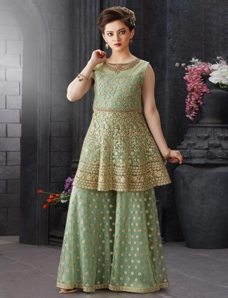 Green net designer party function punjabi sharara suit
