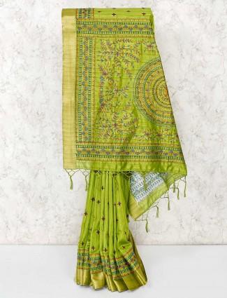 Green nicely thread weaving cotton saree
