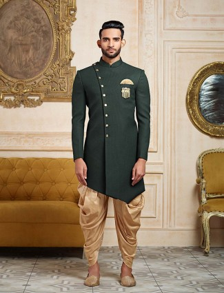 Green party wear indo western in terry rayon fabric