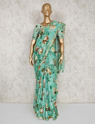 Green printed semi silk saree for festive