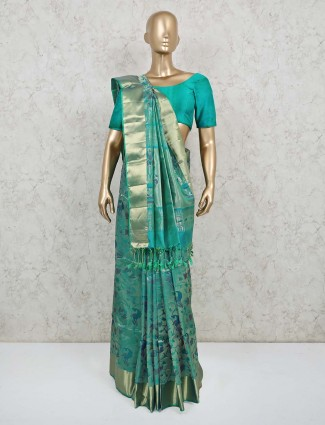 Green pure banarasi silk wedding saree