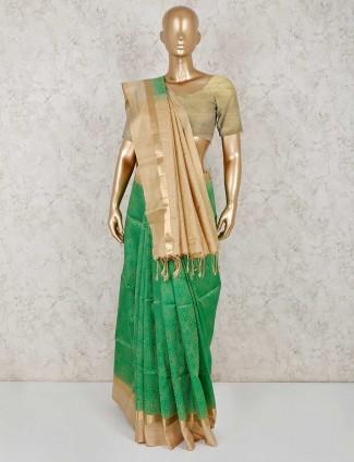 Green pure south silk sari for festive wear
