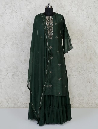 Green raw silk party wear punjabi lehenga suit