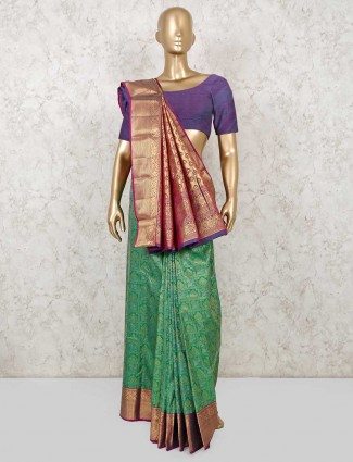 Green saree for reception function in south pure silk