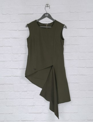 Green solid cotton fabric casual top