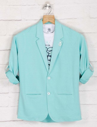 Green terry rayon party function blazer