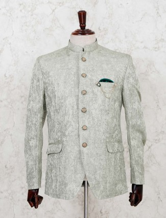 Green terry rayon party texture print jodhpuri blazer