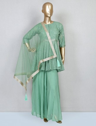 Green wedding wear palazzo suit for women