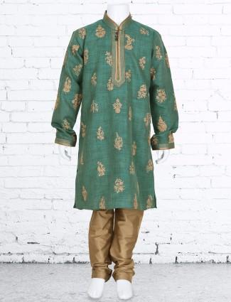 Green wedding wear silk kurta suit