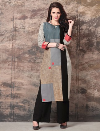 Grey and beige dual tone kurti